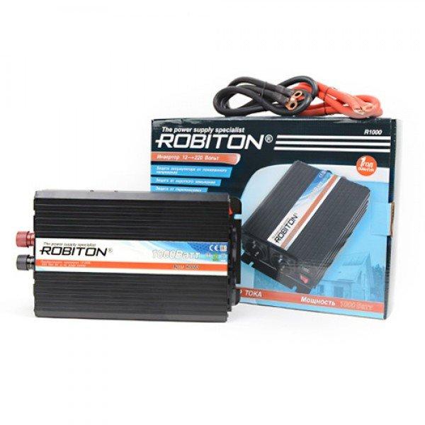 Инвертор автомобильный 12-220В ROBITON R1000 1000Вт на 2 розетки модифицированная синусоида Robiton 1101-02
