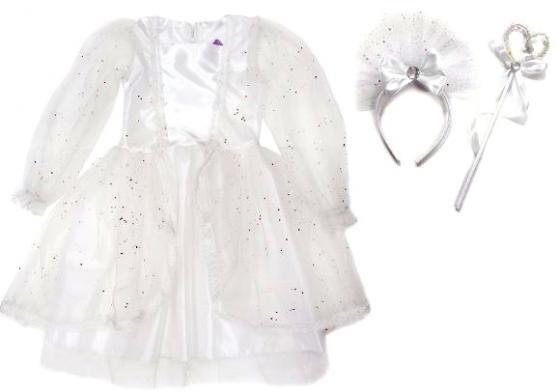 Карнавальный костюм Новогодняя сказка Снежная королева 70 см, бел., ободок, палочка