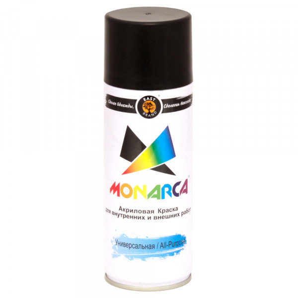 эмаль аэрозоль monarca универсальная черный глянцевый 270г. ral 9005