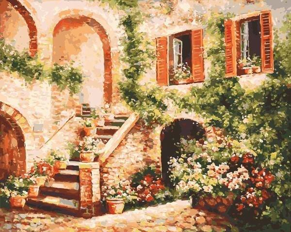 Роспись по холсту Белоснежка Цветущий дворик 40*50см. Картина по номерам