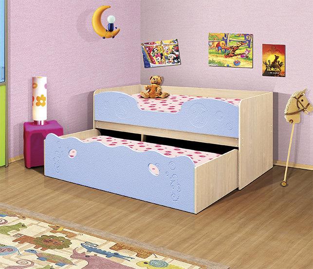 Детская кровать Омега 11 Млечный дуб/Голубое небо