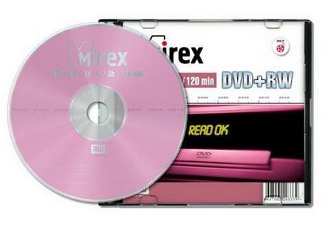 DVD-диск Dvd+rw mirex 4.7 гб 4x slim case (ul130022a4s)