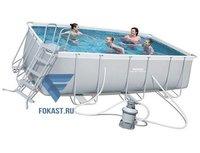 Каркасный бассейн Bestway 56457 (412x201x122см) + песч.фильтр-насос 220В, лестница.