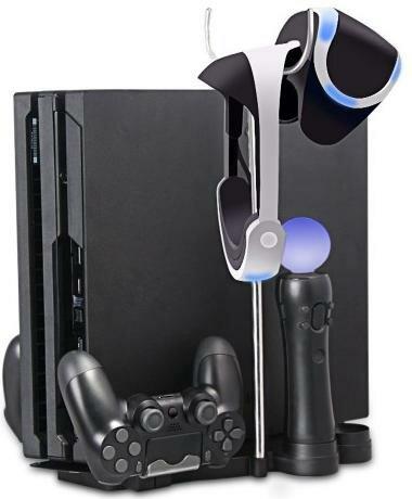 Подставка для вертикальной установки консоли + зарядная станция для 2-х геймпадов Dualshock 4 и 2-х контроллеров PS Move 5 в 1 OIVO (IV-PS4S011) (PS4 Slim/Pro)