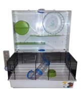 Клетка для хомяков, крыс, мышей Ferplast Olimpia с игровыми туннелями и игровой зоной, белая с салатовым