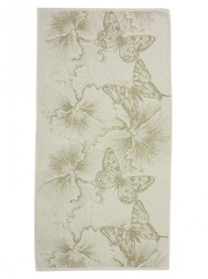 Полотенце махровое изо льна Бабочки и цветы (81х160)