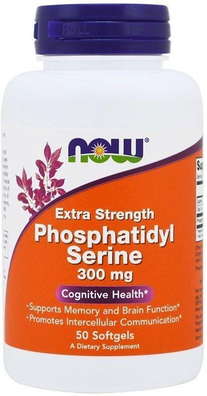 Now Фосфолипидная добавка к пище Phosphatidyl Serine Extra Strength 300 мг 50 гелевых капсул NOW