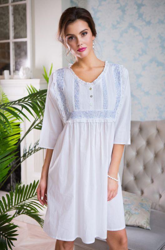 Белое летнее пляжное хлопковое платье Mia-Mia