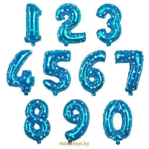 Шар цифра гелиевый 'Голубой со звёздами'