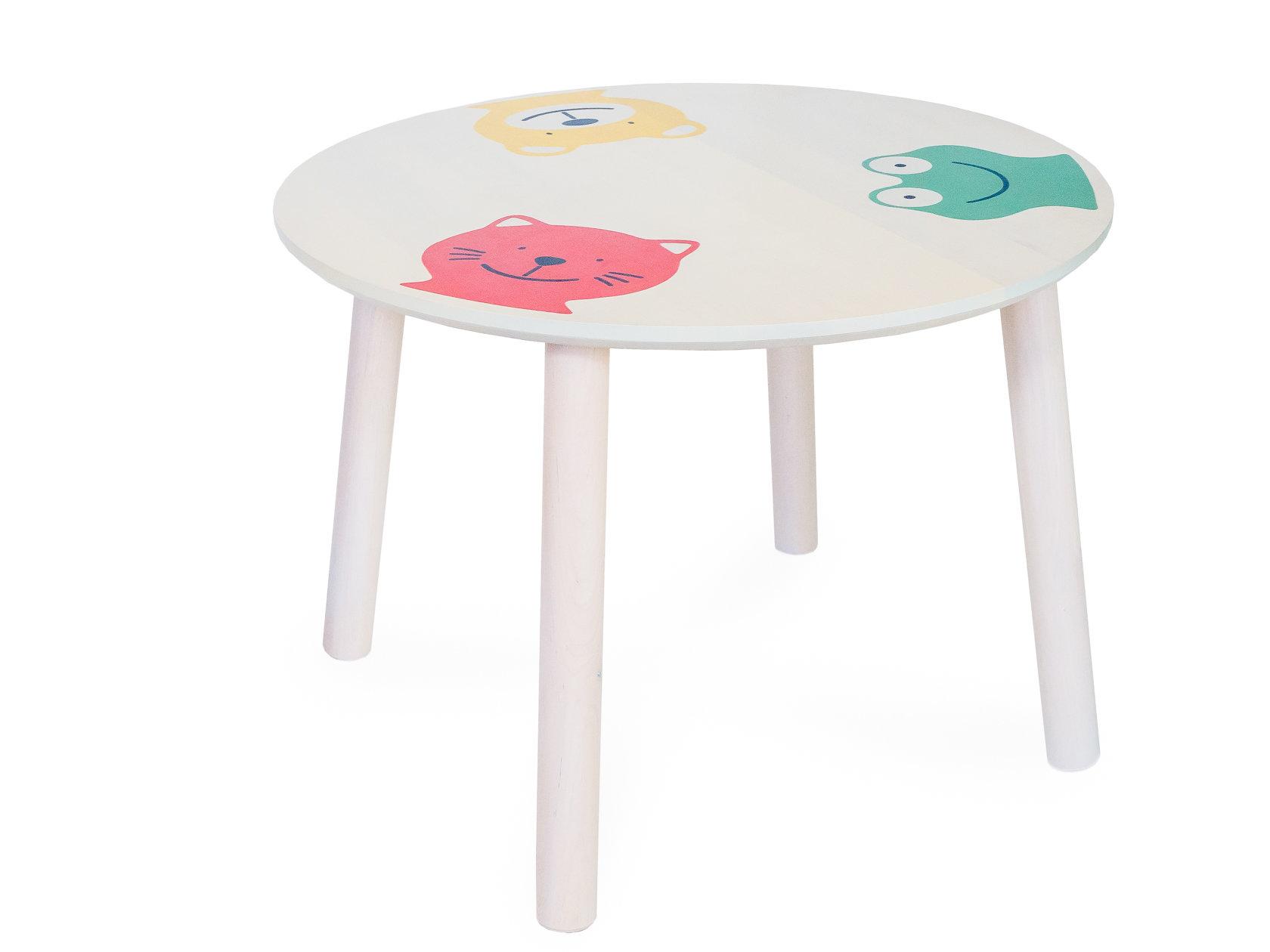 Столик и стульчик Боровичи Стол круглый детский Светлое дерево