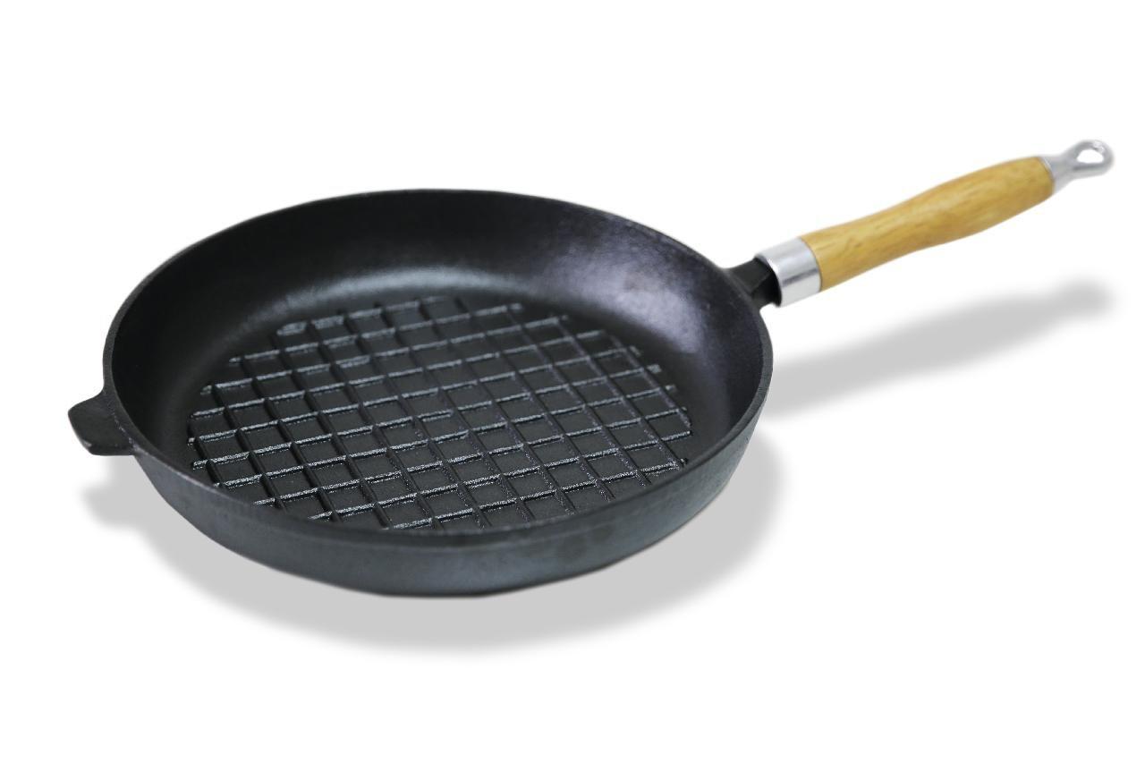 Чугунная сковорода с рифленым дном 27 х 4.8 см 4096 Fissman