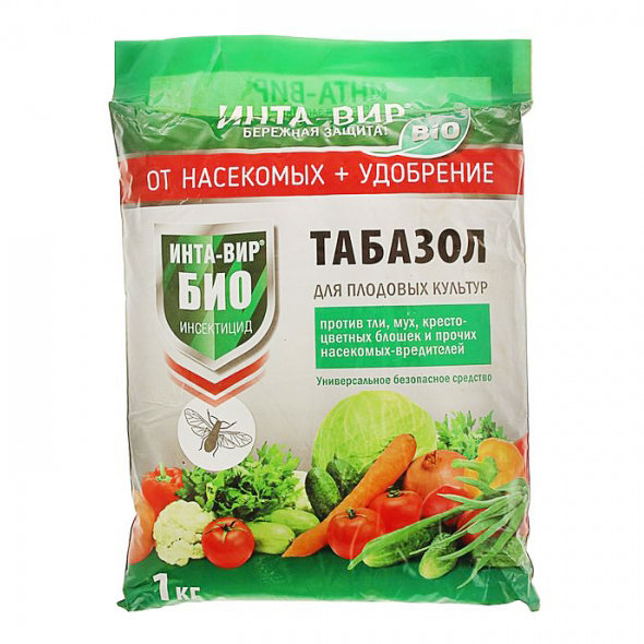 Биологическое удобрение и инсектицид - фаско - табазол - 1кг - На упаковке