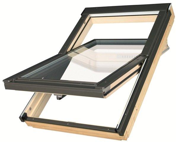 Fakro Факро деревянное мансардное окно энергосберегающее Thermo с двухкамерным стеклопакетом