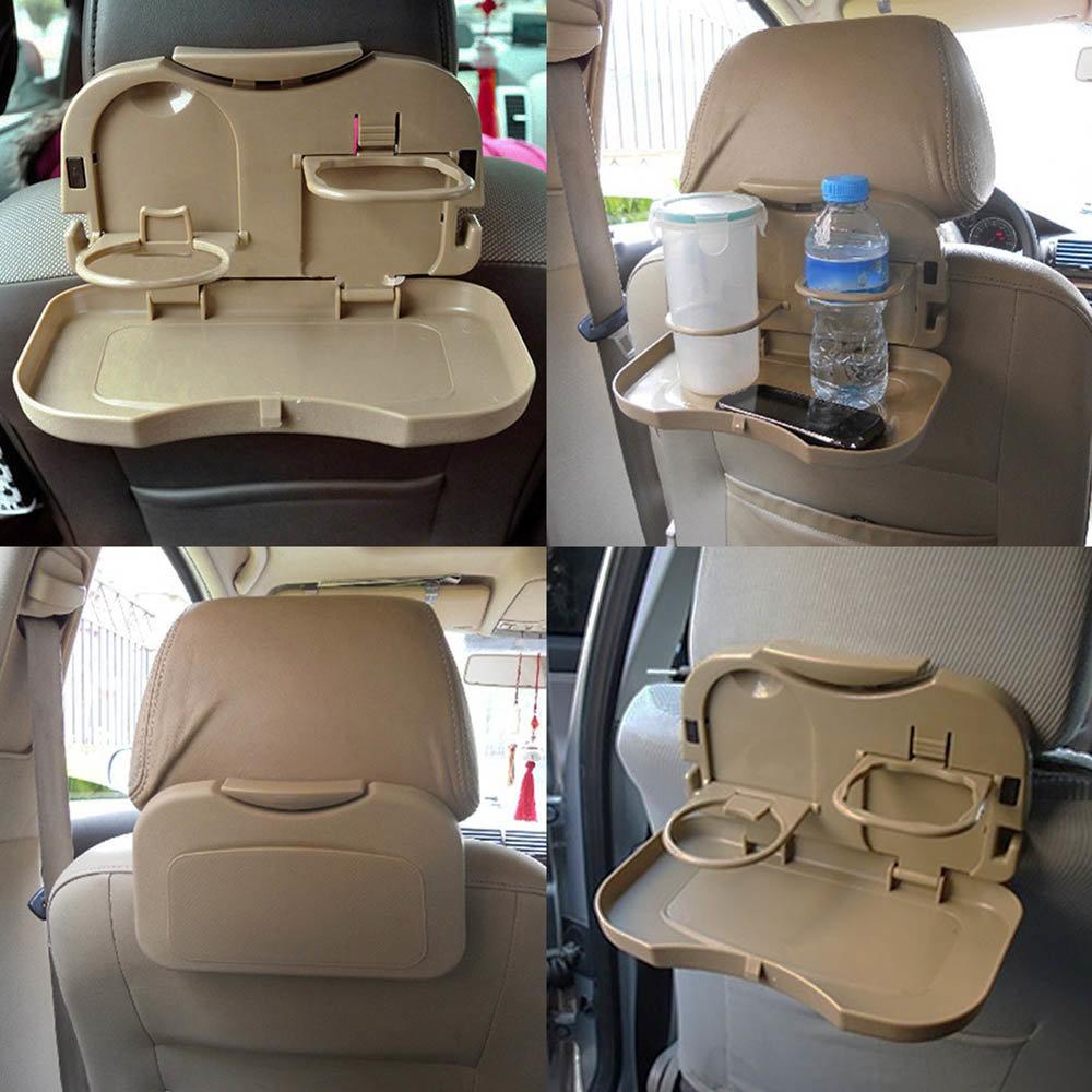 Столик автомобильный, раскладной, с подставками под напитки, крепление на подголовник, цвет бежевый