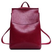 Рюкзак French натуральная кожа (Вишневый)