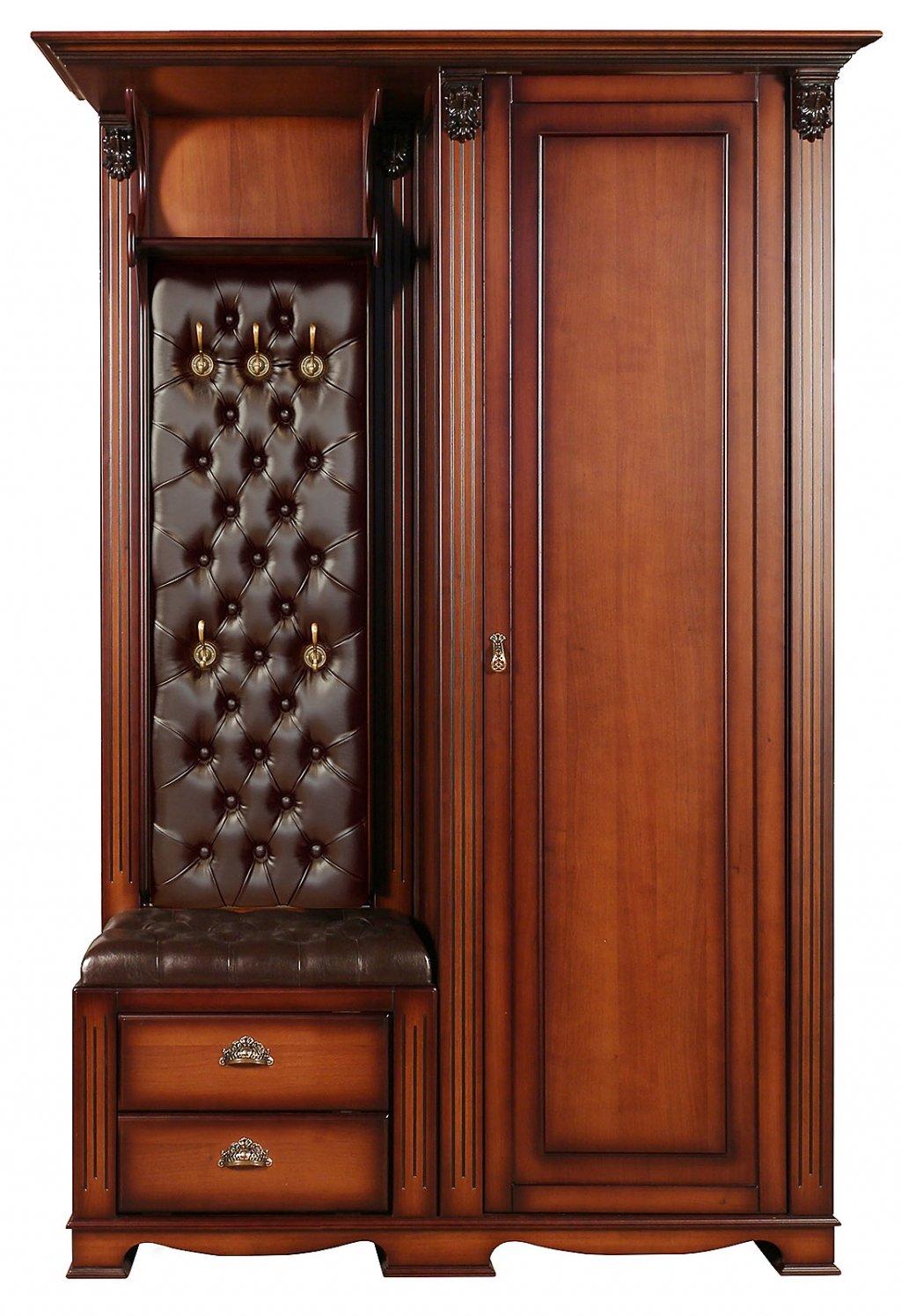 Прихожая Лувр с одностворчатым шкафом, вешалкой и банкеткой с двумя выдвижными ящиками EL7525R Or Brown