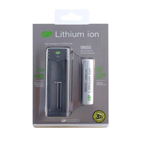 18650 Аккумулятор + зарядное устройство GP L1111865026FPE (GPL), 1 шт. 2600мAч