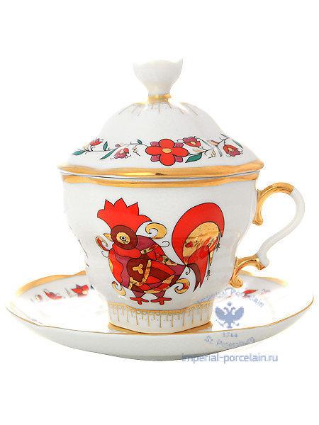 Чашка чайная с крышечкой и блюдцем форма Подарочная-2 рисунок Сувенир