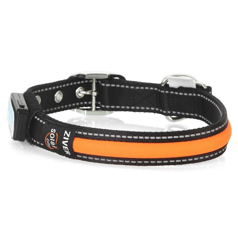 Ошейник светящийся ZIVER-401 с зарядкой от USB,оранжевый, 3 режима, 2,5х55 см