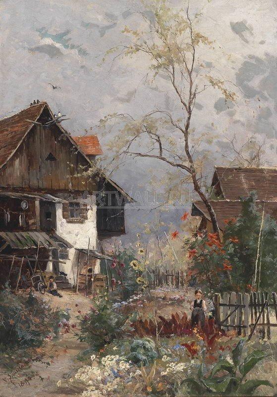 """Пейзажи """"Штаудахе Витус, Лето. Цветущий сад с коттеджем"""", 20x29 см, на бумаге"""