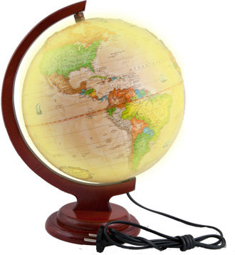 """Глобус политический """"Ретро-Александр"""" на подставке из дерева, с подсветкой"""