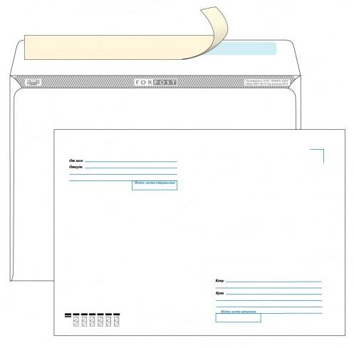 Конверт белый С4 (229*324мм), стрип-лента, кому-куда, клапан прямой (FORPOST). Конверты - в упаковке 250 шт.