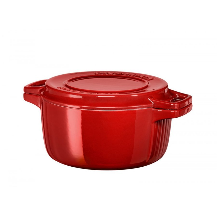 Кастрюля чугунная красная, 3.8 л, KitchenAid
