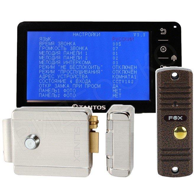 Комплект видеодомофона с электромеханическим замком для дома Optima (черный монитор)