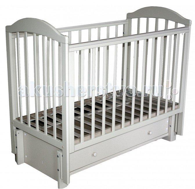 Детская кроватка Кубаньлесстрой БИ 41.3 Кубаночка-5 маятник продольный Белый