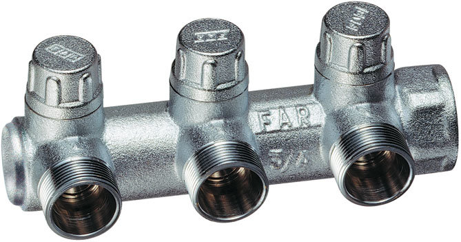 FAR коллектор MULTIFAR (ВР) хромированный регулирующий концевой с 3 отводами (МР)
