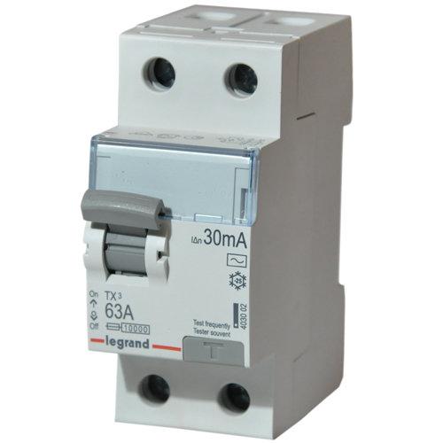Выключатель дифференциального тока 2-полюсный 63A AC 30mA Legrand TX3