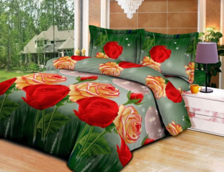 Комплект постельного белья с красными и желтыми розами «Дивный сад» 1.5 спальный