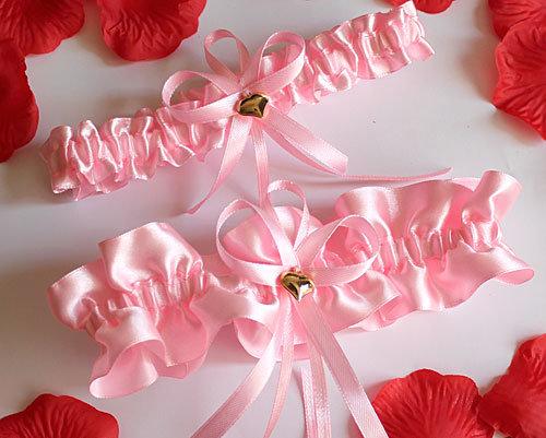 """Свадебные подвязки для невесты """"Женевьева"""" ( 2 шт.)(розовый)"""