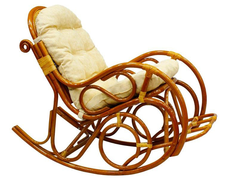 Кресло-качалка ЭкоДизайн с подножкой 05-11 Коньяк