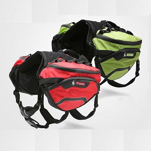 Походный рюкзак на собаку. Съемные сумки, мягкая шлейка, легкое крепление сумок.