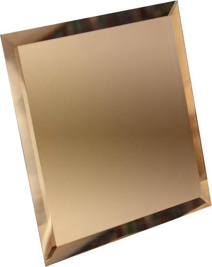 Квадратная зеркальная бронзовая плитка с фацетом 10мм КЗБ1-01 18х18