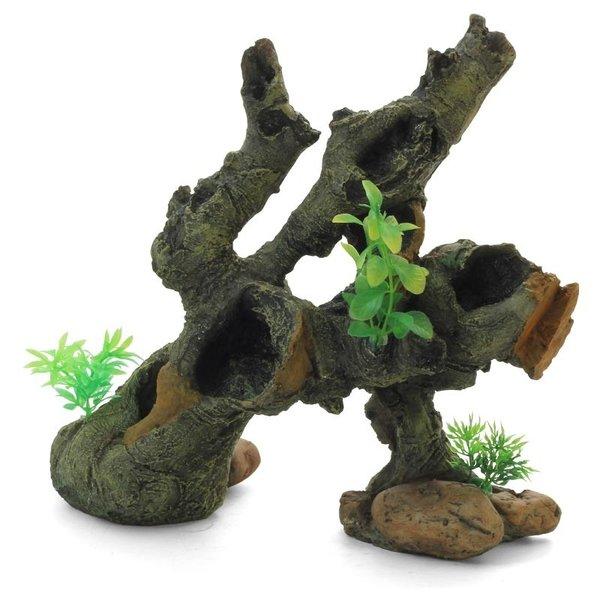 """Грот """"Коряга с растениями"""", 30,3x14,5x28,4 см"""