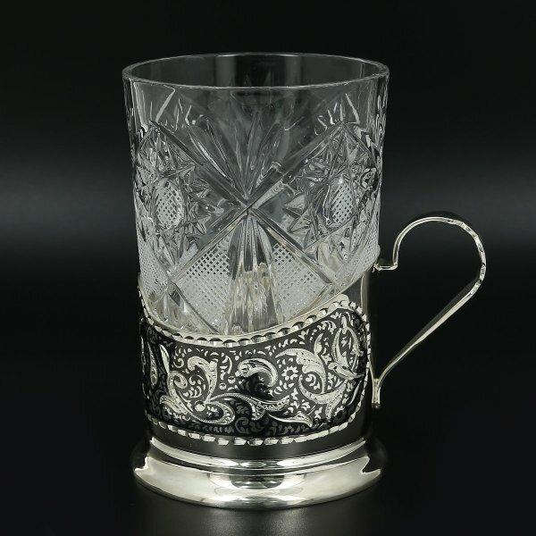 Серебряный подстаканник Кубачи (стакан и коробка - в подарок) арт.11011
