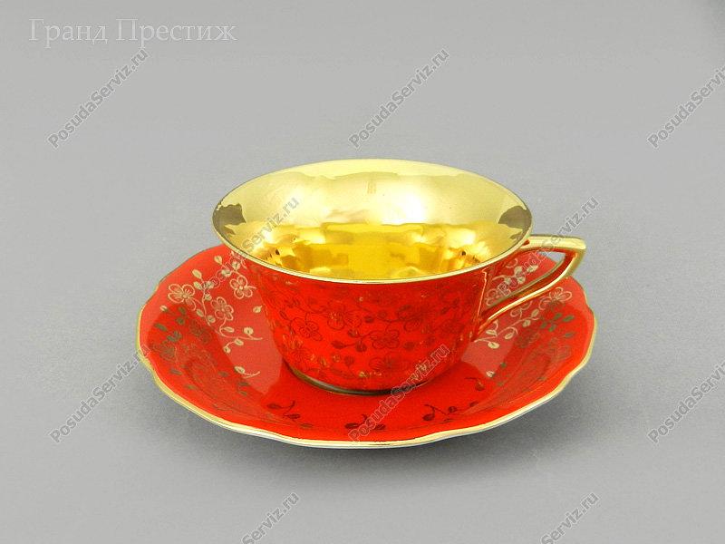 Чайное шапо Чайная пара Леандер (Leander) Чайная чашка с блюдцем фарфоровая (Шапо чайное или пара) 150 мл. 341. Виндзор