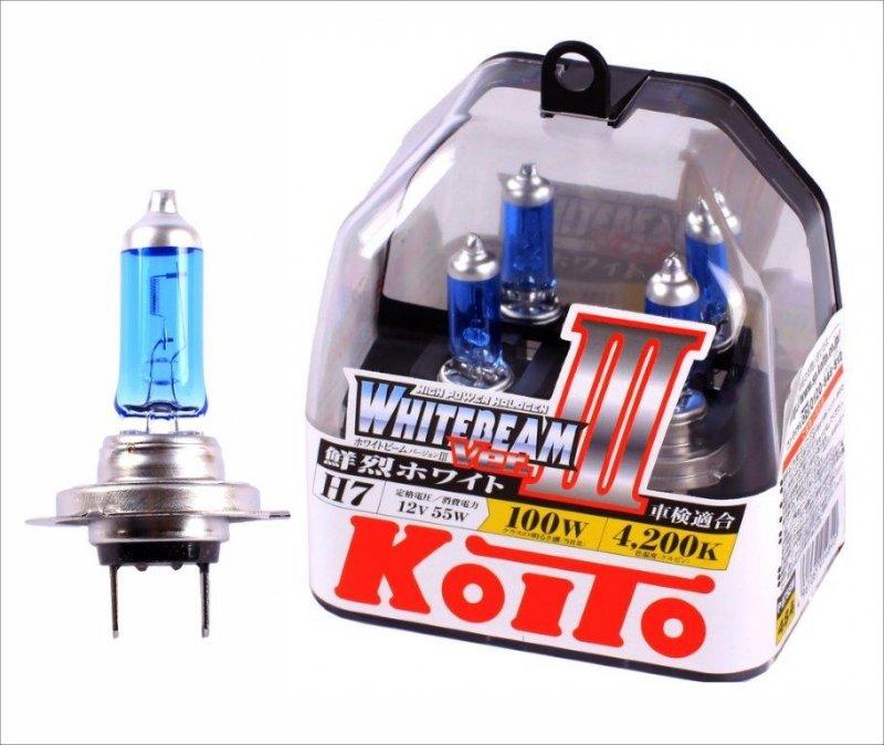 Лампа галогенная KOITO H7 Whitebeam 4200K 12V 55W, 2 шт, P0755W