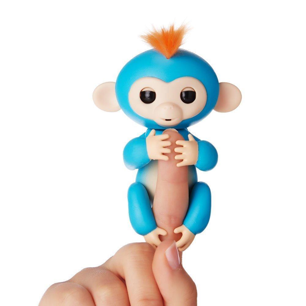Интерактивная игрушка робот WowWee Интерактивная ручная обезьянка Fingerlings – Борис, синяя, 12 см