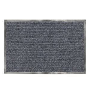 Коврик входной ворсовый влаго-грязезащитный, 90х120 см, ребристый, серый