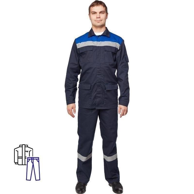 Костюм рабочий летний мужской л05-КБР с СОП синий/васильковый размер 68-70 рост 170-176