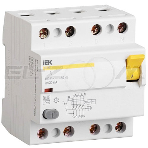 IEK® Устройство защитного отключения IEK ВД1-63 4п 25А 30мА AC