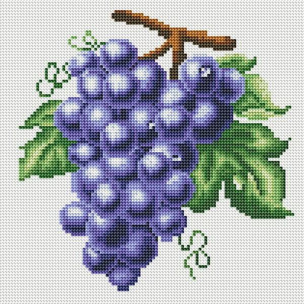 Гроздь винограда 30 х 30 см мозаичная картина из страз на подрамнике Белоснежка 029-RS-R