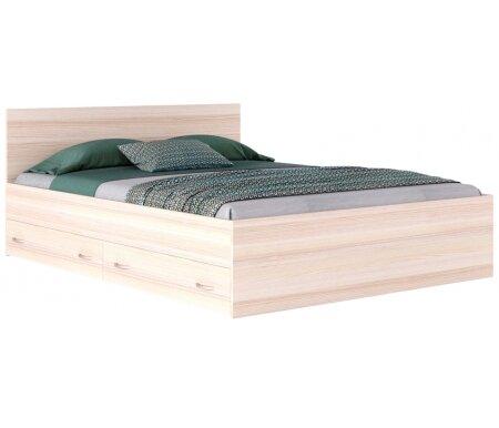 Двуспальная кровать Наша мебель Виктория 160.2 160 х 200 см с ящиками дуб молочный