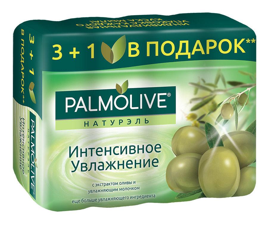 Мыло туалетное Palmolive Натурэль Интенсивное увлажнение с экстрактом Оливы и увлажняющим молочком, 4*90г