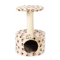 Petmax Домик — когтеточка CANDY круглый с площадкой, бежевый/коричневый, принт: кошачьи лапки, 39х39х61 см