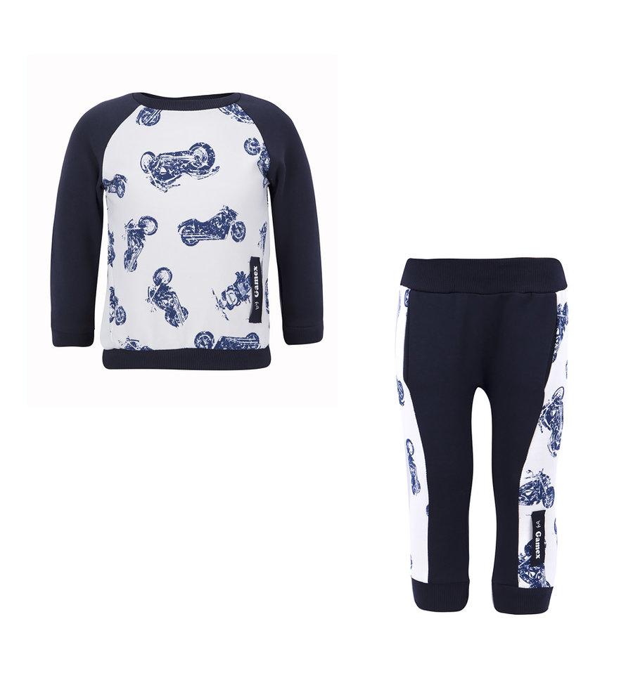 Спортивный костюм джемпер/брюки Gamex 'Panda', цвет: белый/синий