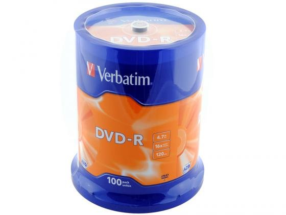 Диски DVD-R Verbatim 16x 4.7Gb CakeBox 100шт 43549
